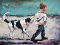 2104 A boy and his dog 12x16 sm
