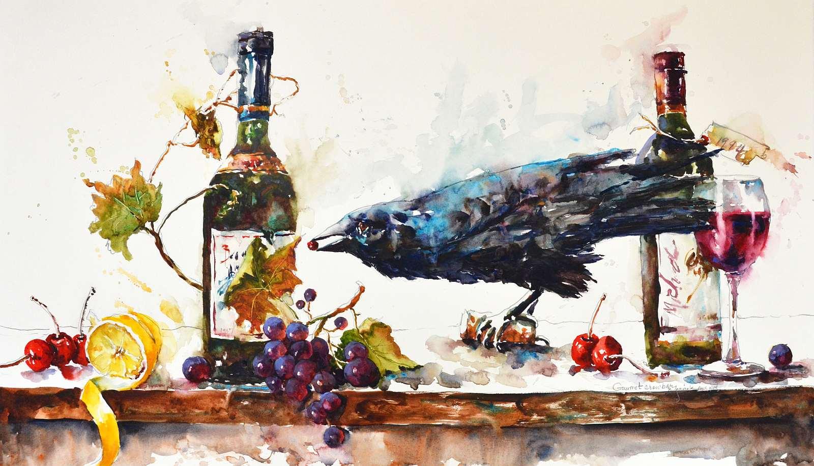 Gourmet Crow Bar 18x30 watercolor-